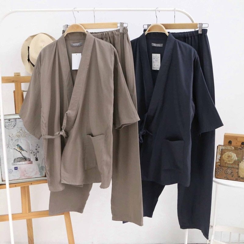 Горячая Распродажа 100% марля хлопок кимоно пижамы мужские простой с коротким рукавом японский пижамы наборы мужской Pijama Hombre пижамы Халаты