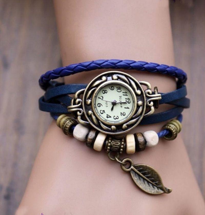 Best Sale 2016 Fashion Womens Bracelet Vintage Weave Wrap Quartz PU Leather Leaf Beads Wrist Watches lady watch Relogio Feminino