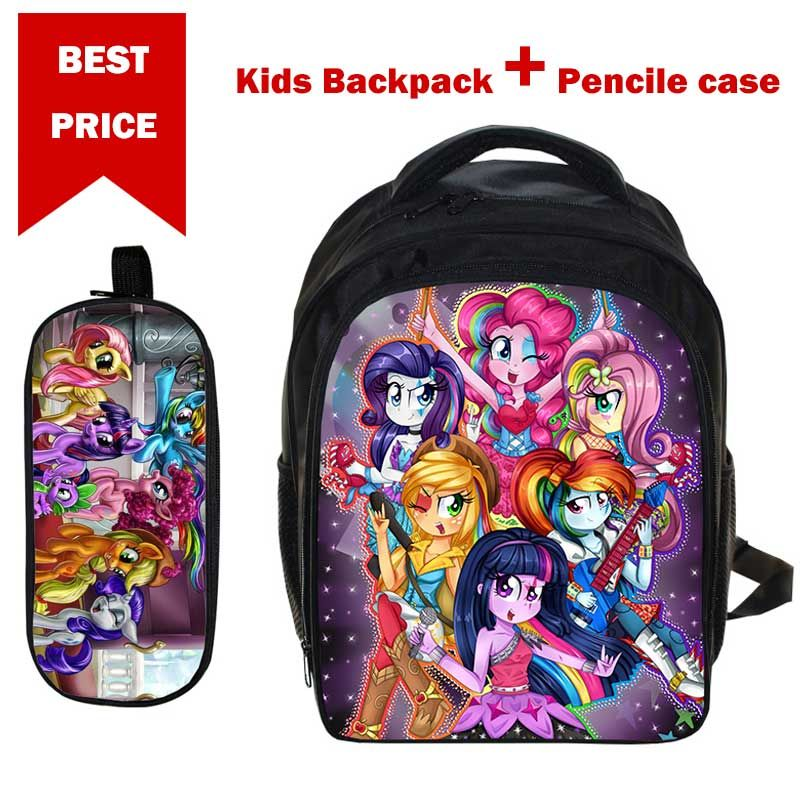 2018 cadeaux pour 3-6 ans garçons filles sac d'école Anime mon petit poney sac à dos avec porte-crayon pour enfants sac cartable sac à dos
