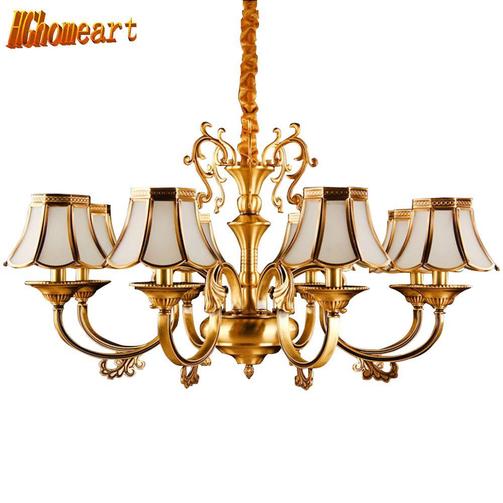 HGhomeart Chandelier European-style copper chandelier living room chandelier lighting bedroom restaurant retro chandelier