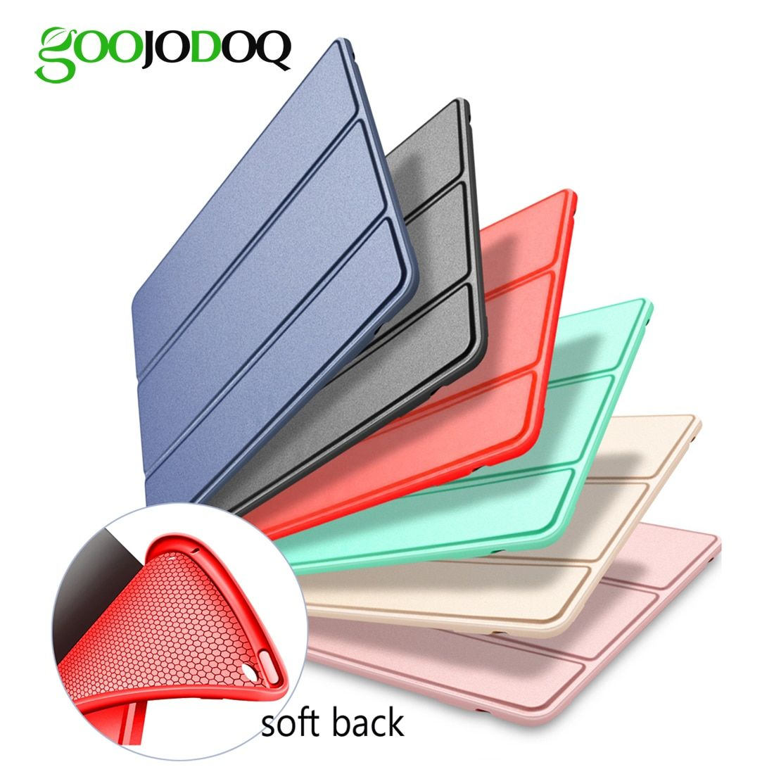 For iPad Air 2 Air 1 Case Silicone Soft Back Slim Pu Leather Smart Cover for Apple iPad Air Case Sturdy Stand Auto Sleep / Wake