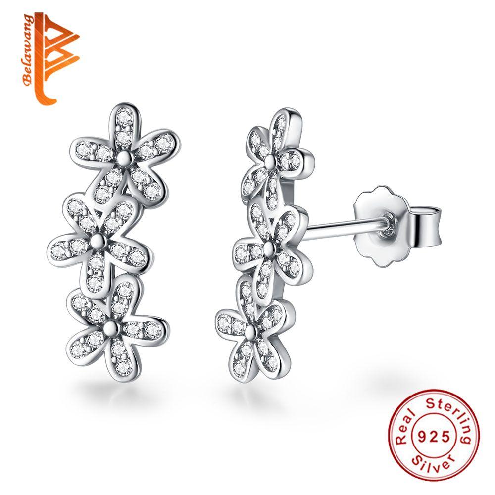 BELAWANG 925 Sterling Silver Dazzling Daisies Flower Stud Earrings Clear CZ Fashion Earring for Women Wedding Engagement Jewelry