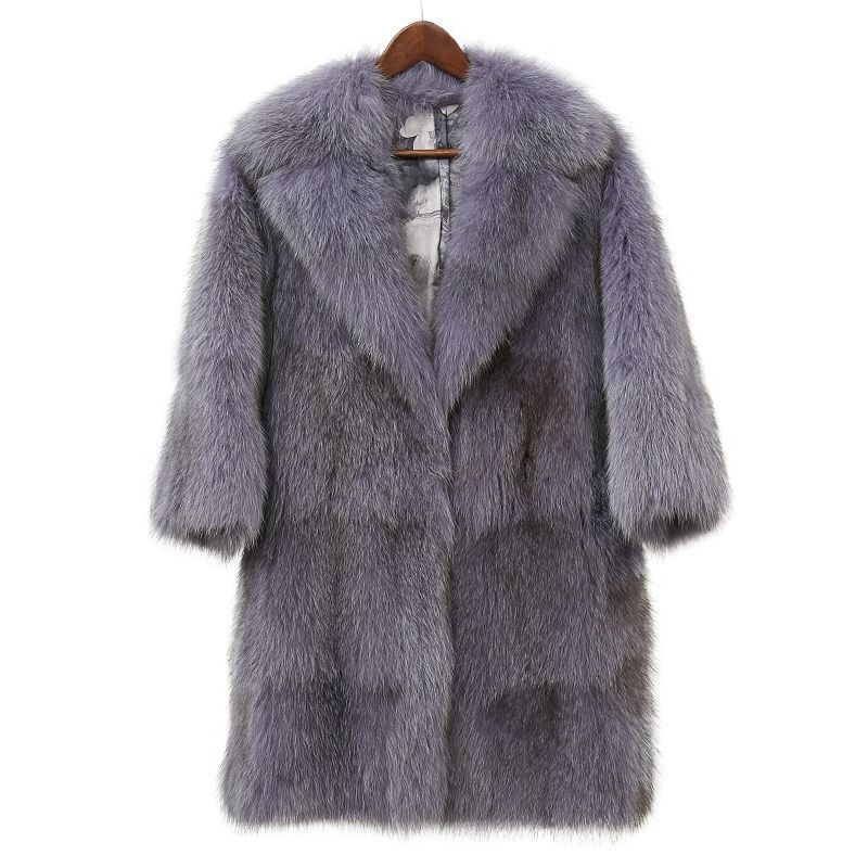 High quality fluffy whole skin fox fur coats outerwear women turn down collar thick warm real fur jackets 2018 new autumn winter