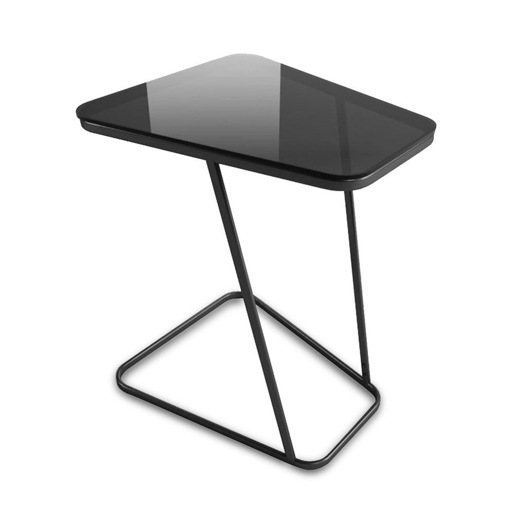 C-Shape End Table Small Side Table Computer Tray Table for Living room / Bedroom, Toughened Glass Top