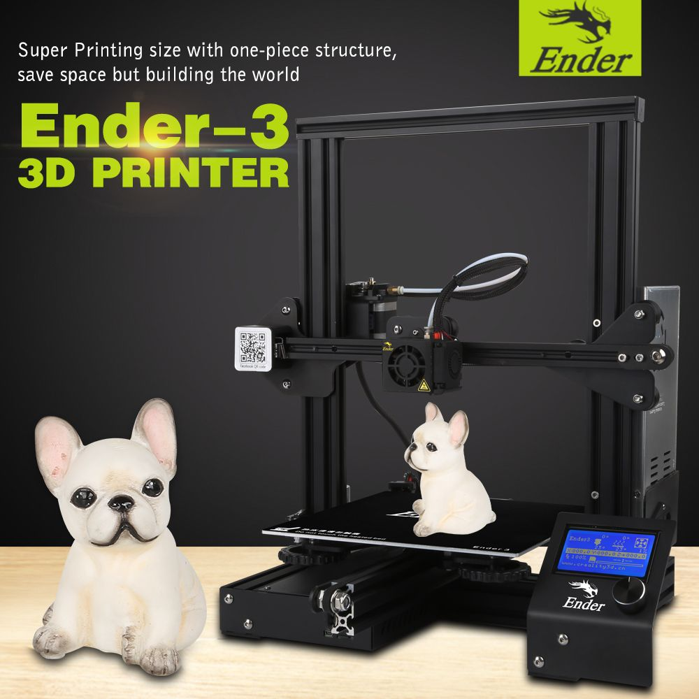 2018 Ender-3 3D Printer DIY Kit V-slot prusa I3 Upgrade Resume Power Off Large Print Size 220*220*250 110Cfor Hotbed Creality 3D
