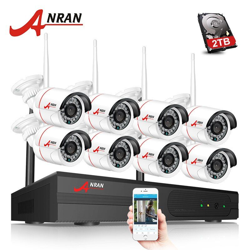 ANRAN P2P 8CH 1080P HDMI WIFI NVR 24IR Waterproof Outdoor 2MP Wireless IP Camera Surveillance CCTV Video Security System 3TB HDD
