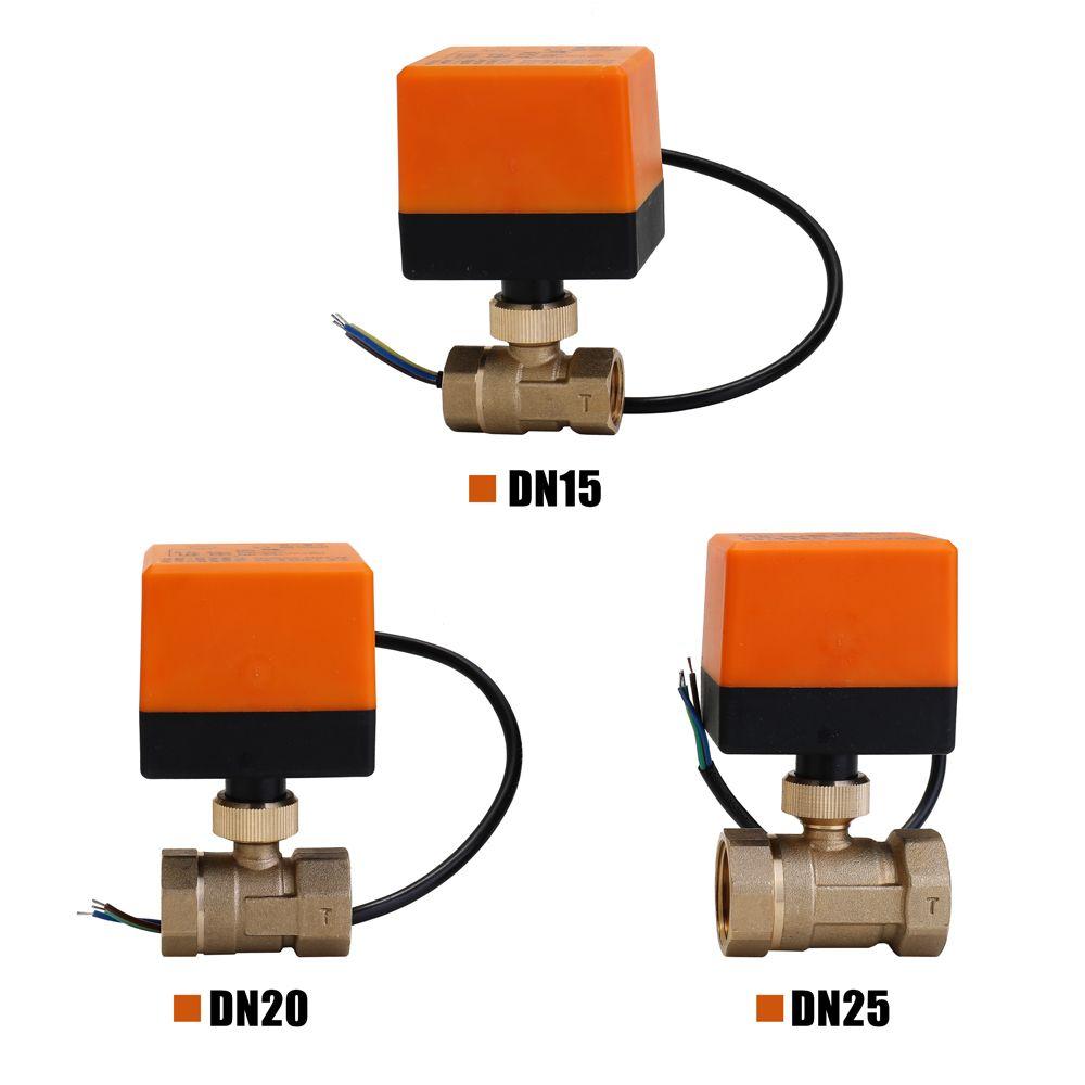 DN15/DN20/DN25 robinet à tournant sphérique en laiton motorisé électrique DN20 AC 220V 2 voies 3 fils avec actionneur interrupteur manuel livraison gratuite