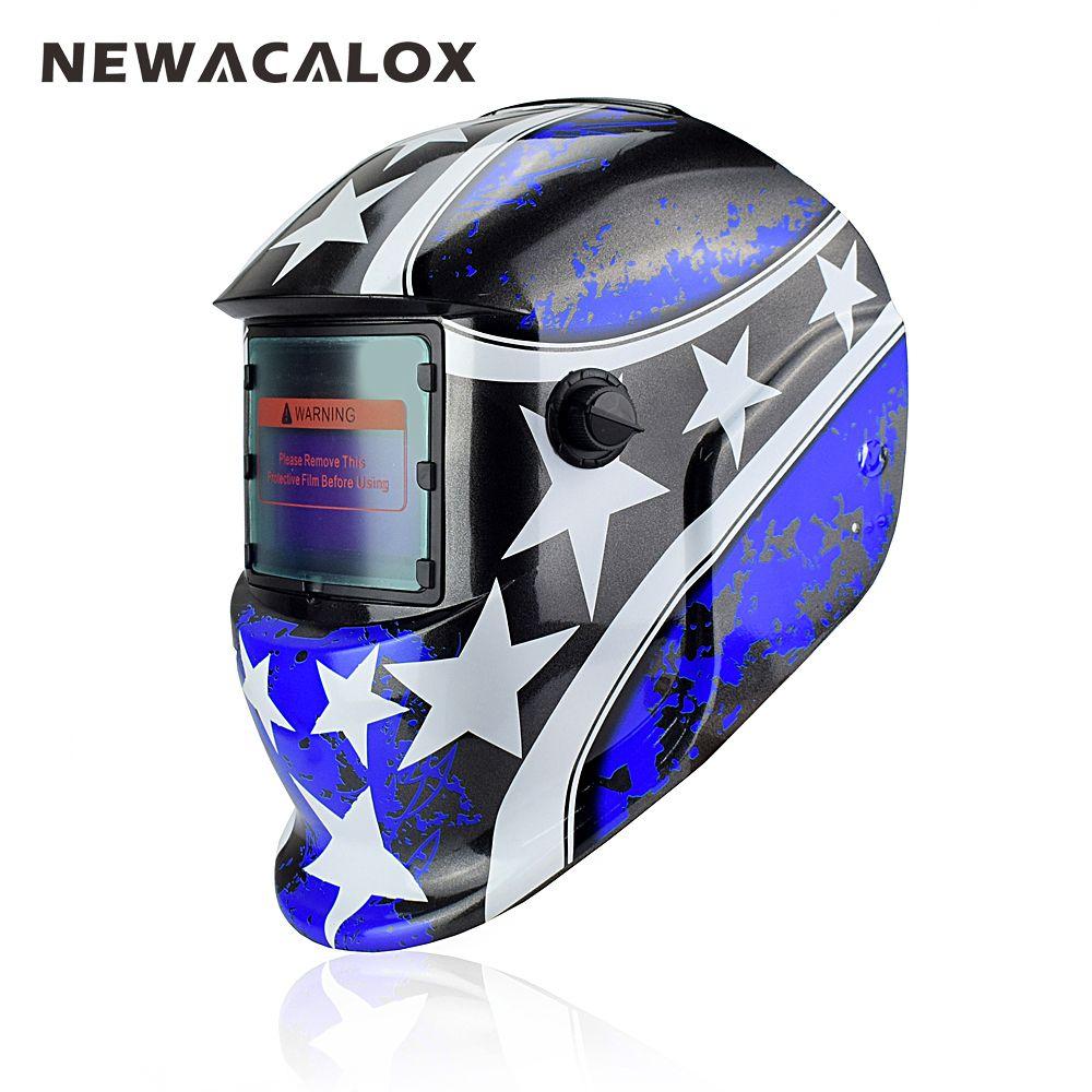 NEWACALOX Blue Star Solar Auto Darkening MIG MMA Welding Mask Welding Helmet Weld/Grind /UV/IR Preservation for Welding Machine