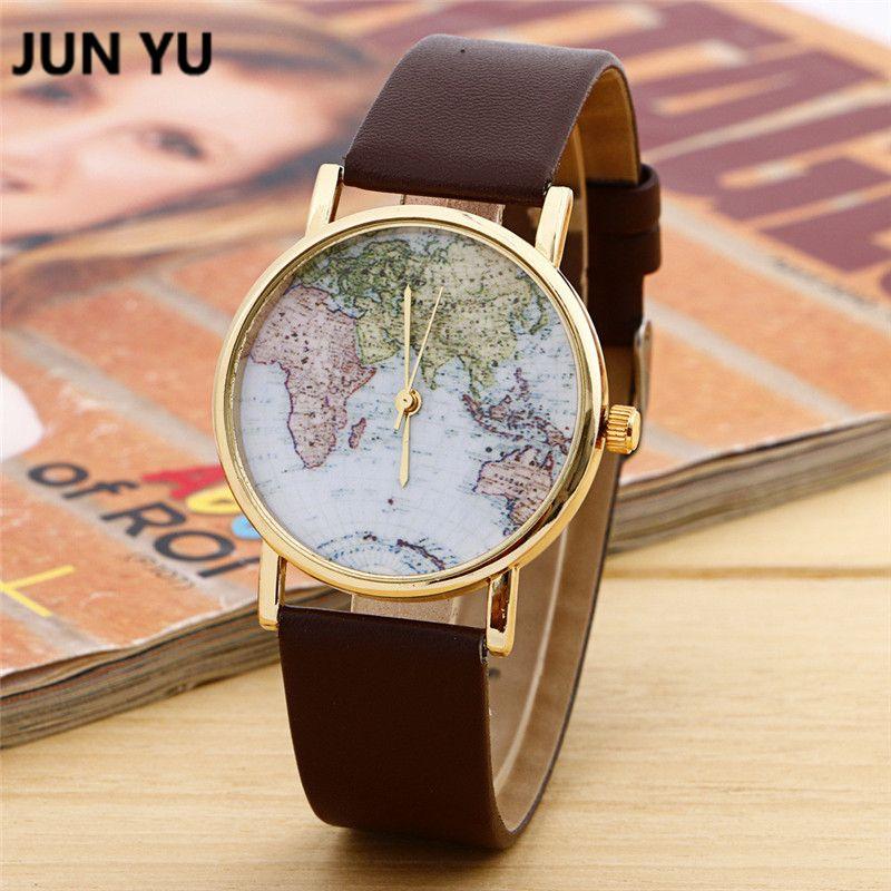 JUNYU World Map Ver Mundo Regalo de Graduación para las mujeres Wanderlust regalo Único mapa relojes de Los Hombres Relojes de pulsera de Cuarzo