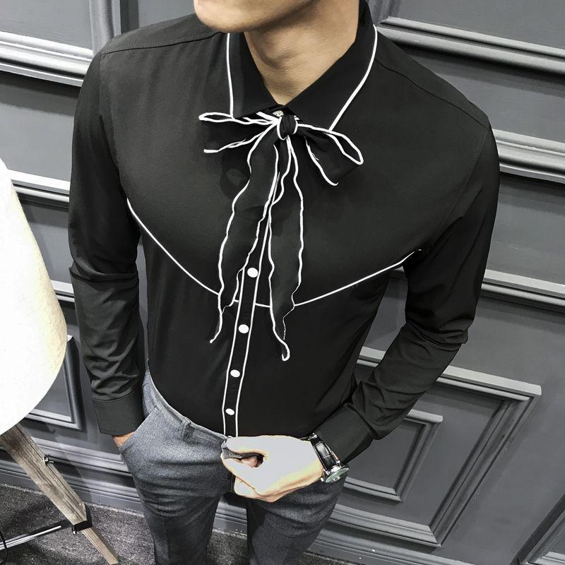 Mens Ruffled Shirts Bowtie Binding Shirt Men Contrast Black White Green Camisa Social Slim Manga Longa Party Wedding Shirt