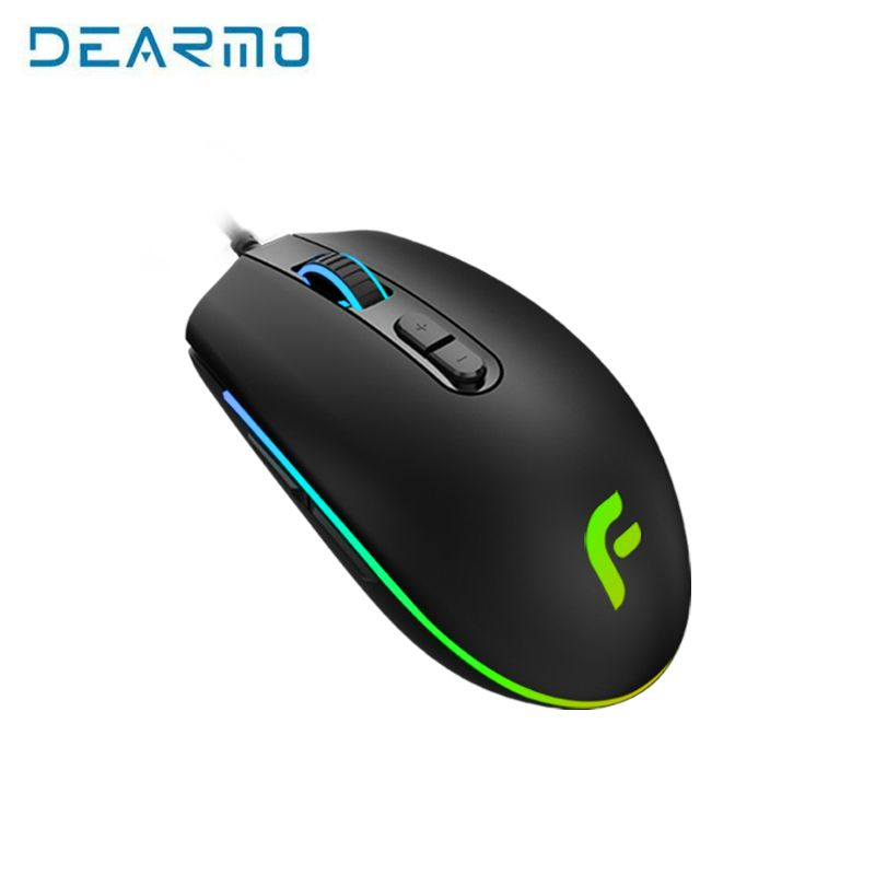 Original DEARMO E-Sports Version PMW3325 with 7 Buttons Programmable Game Mouse 6000 DPI Wired Optical Gaming Mice For Pro Gamer