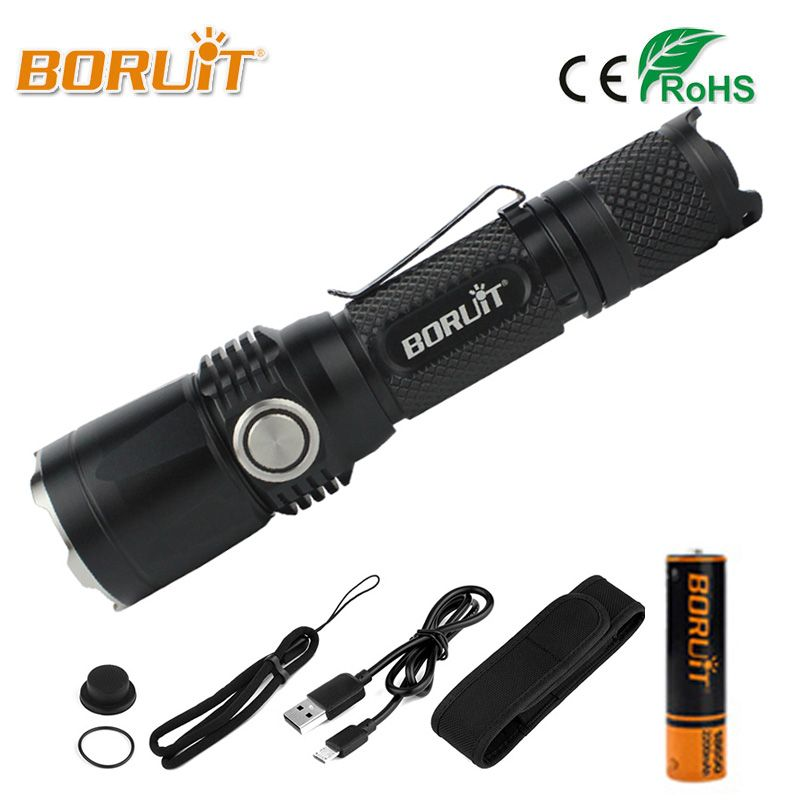 BORUIT Powerful XPL LED Flashlight XPL2 2000LM High Power 5 Modes USB Flashlamp MINI Portable Lantern 18650 Torch For Camping