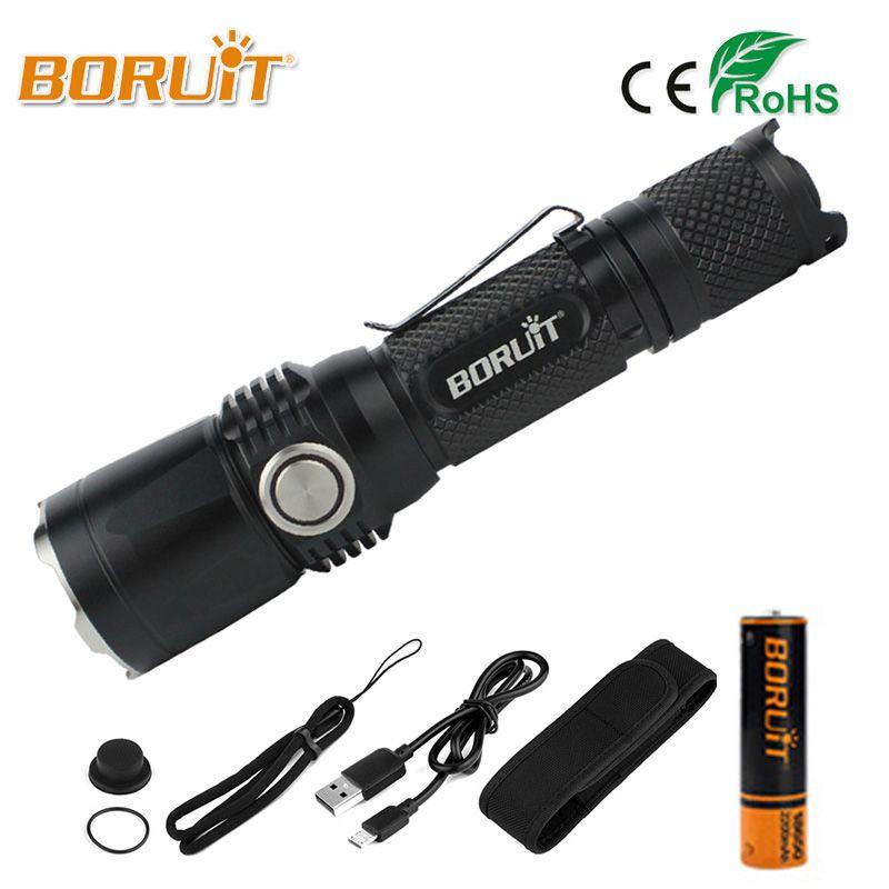 BORUIT Powerful XPL LED Flashlight XPL2 2000LM High Power 5 Modes USB Flashlamp MINI Portable Lantern 18650 Torch For Camping
