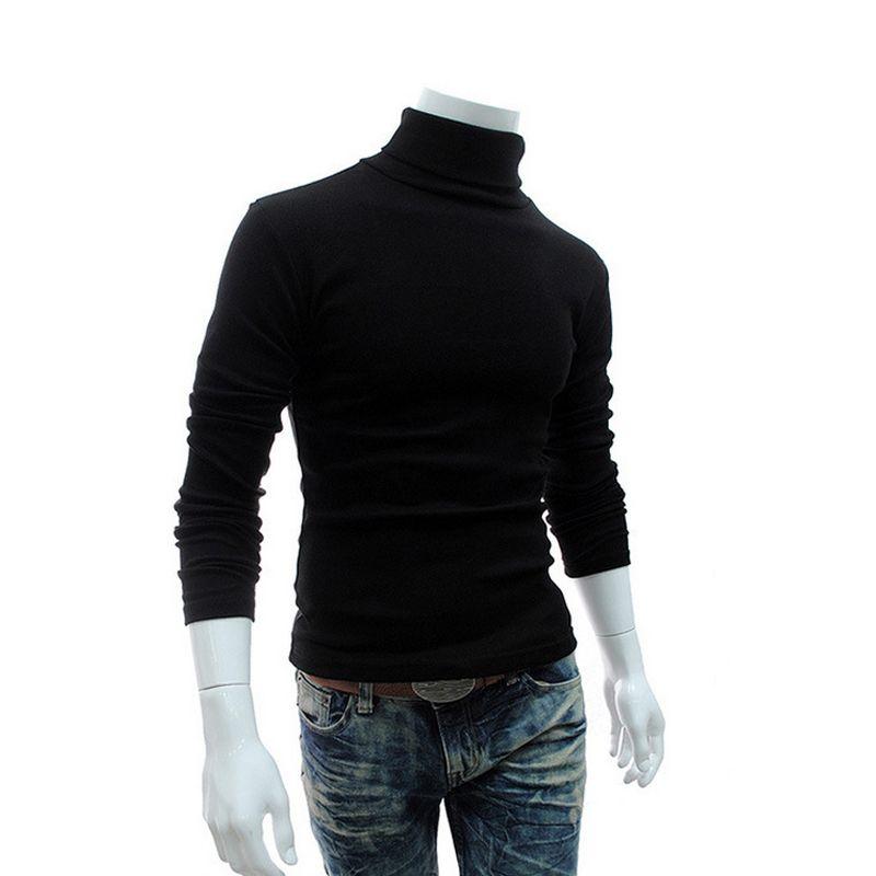 2018 Hiver Hommes Col Roulé Chandails Noir Pulls Vêtements Pour Homme Coton Tricoté Chandail Mâle Chandails Pull Hombre XXXL 50