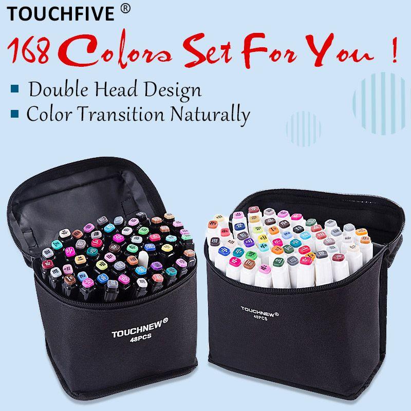 TouchFIVE 30/40/60/80 marqueurs de couleur marqueurs de dessin Manga stylo à base d'alcool croquis huileux double brosse stylo fournitures d'art