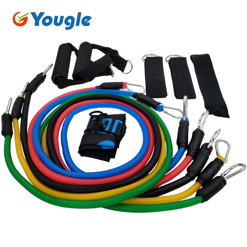 YOUGLE 11pcs/set Pull Rope Fitness Exercises Resistance Bands Crossfit Latex Tubes <font><b>Pedal</b></font> Excerciser Body Training Workout Yoga