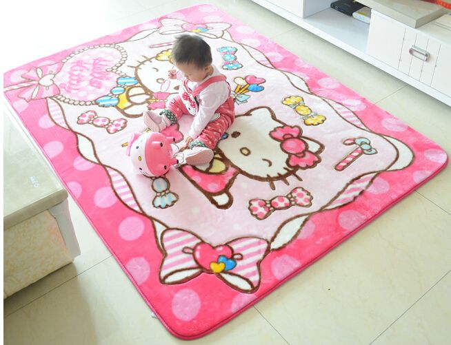 Larger Size 1.35*1.9M Kawaii Hello Kitty Soft Acrylic Rugs And Carpets For Liveing Room Children Hello Kitty Home Play Mat