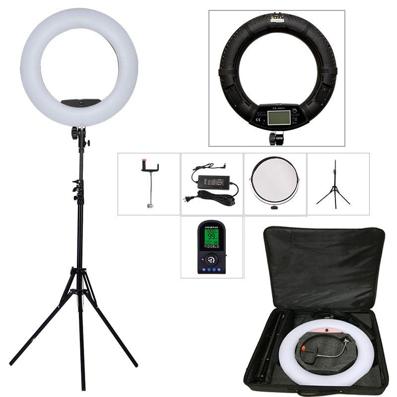 Yidoblo Black FE-480II 5600K Dimmable Camera Ring Light 480 LED Video Light Lamp LCD RC Photographic Lighting +2M stand+ handbag
