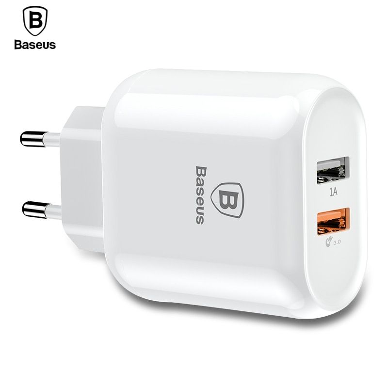 Baseus Quick Charge 3.0 Dual USB Phone Charger For iPhone X 8 Universal 5V/3A Travel Wall USB Charger For Samsung Xiaomi EU Plug