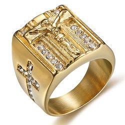 Mimeng Gold Gefüllt Titan Jesus Kreuz Ring Klassische Religiöse Ring Männer Schmuck
