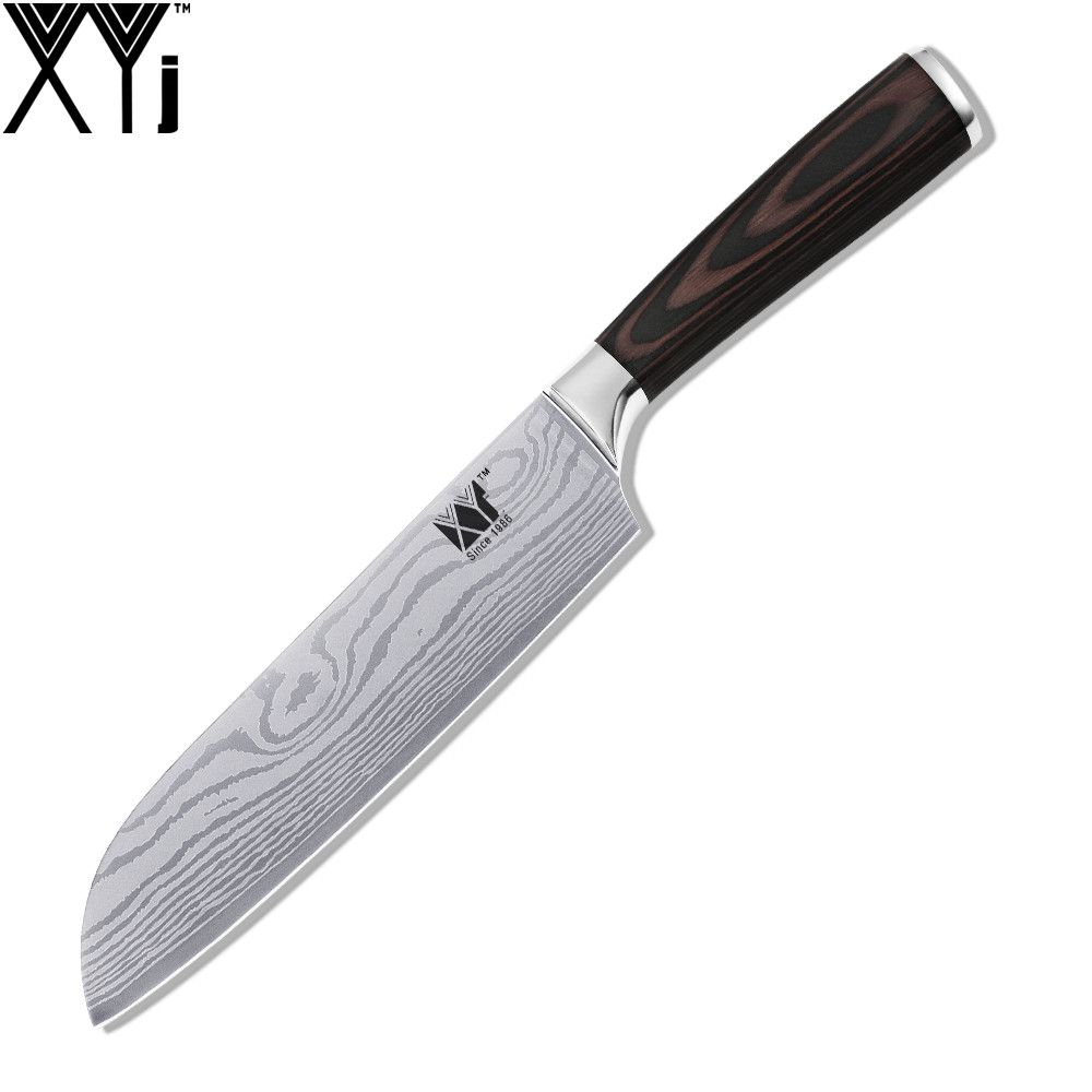 High Quality 7 Inch Santoku Kitchen Knife XYJ Brand Cooking Tools Color Wood Handle 7Cr17 Stainless Steel <font><b>Flowing</b></font> Sand Veins