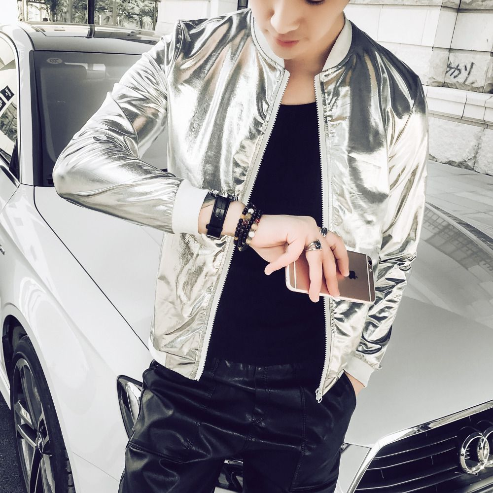 5XL Summer Men Bomber Jacket Fashion 2018 Slim Fit Sun Protection Clothing Silver Shining Jackets Mens Plus Size Stage Coats Man