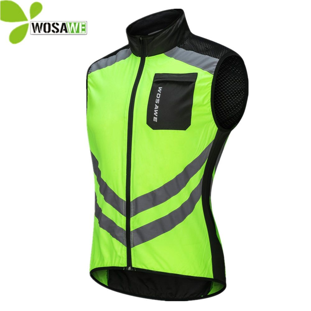 WOSAWE Reflective Cycling Vests Sleeveless Windproof Sports Ciclismo Jerseys MTB Road Bike Bicycle Clothing Coat Cycle Clothes