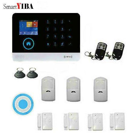 SmartYIBA Metal Remote Control WIFI GSM SMS Home Security Alarm Kits With PIR Motion Sensor Wireless Blue Siren Alarm