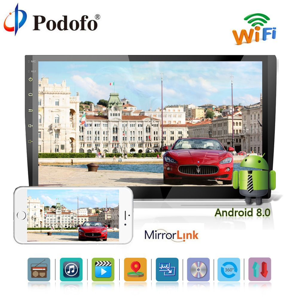Podofo 2 din Android 8.0 Car Multimedia DVD Player GPS Navigation Audio player 10.1