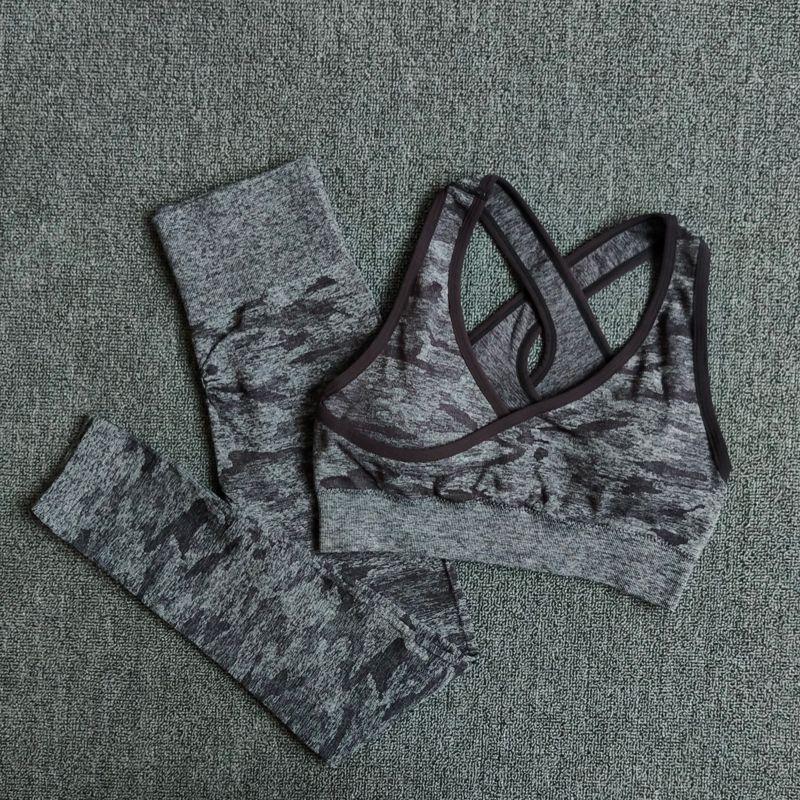 2 pièces Yoga ensemble sans couture Camouflage femmes Fitness vêtements tenue de sport Gym Leggings rembourré Push Up Strappy sport soutien-gorge sport costumes