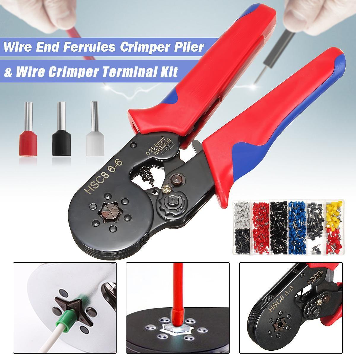 New Mini-Type Self-Adjustable Six Mandrel Ratchet Crimper Plier+1200Pcs Electrical Cable Wire End Terminal Connectors Crimping