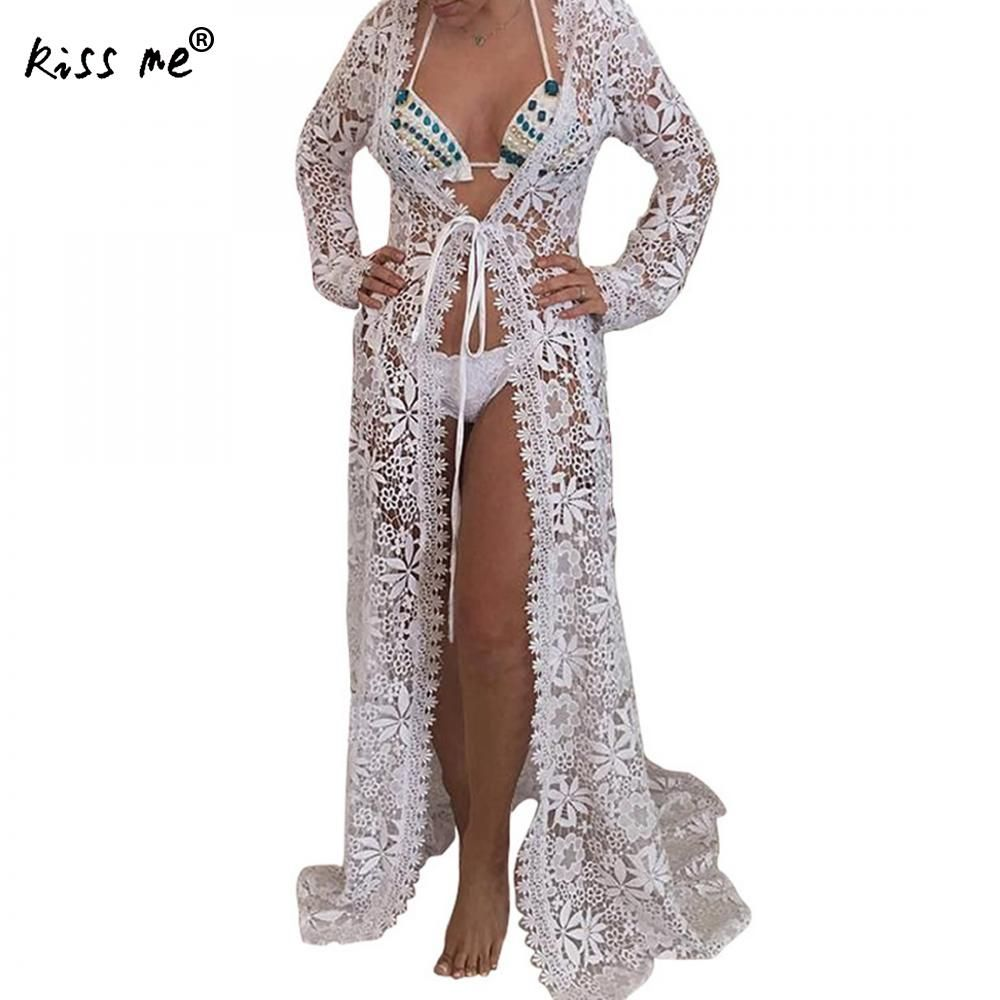 Hollow Lace Patchwork Female Long Cardigan White Beach Cover Up Black Sexy Beachwear Cover-Ups Summer Clothes for Women