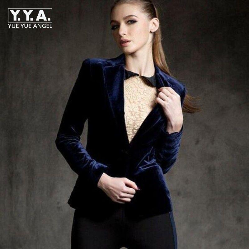 New Arrival High Quality Chic Europe women's velvet blazer Skinny Slim Fit Gold short OL jacket Blouses Plus Size Free Shipping