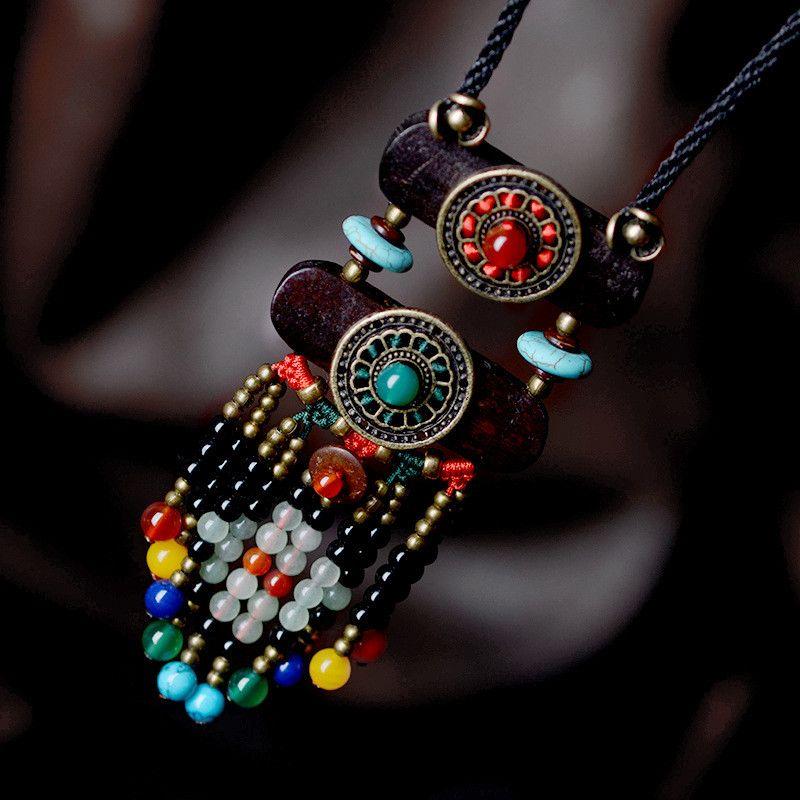 Livraison gratuite femmes collier nouveauté long bois pendentif vintage mode bijoux accessoires recommander chandail colliers XL151