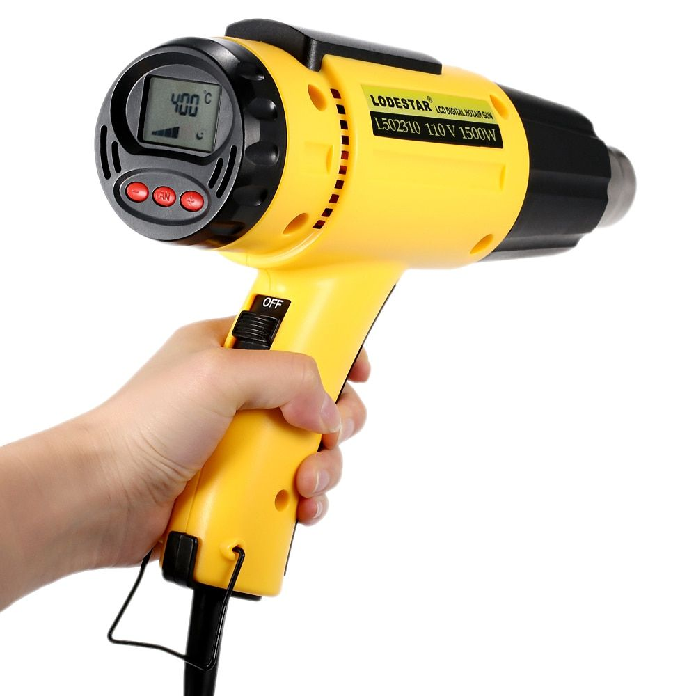 LODESTAR High Quality Electric hot air gun Digital Temperature-controlled heat gun Adjustable Tools Set with Nozzle 1500W AC110V