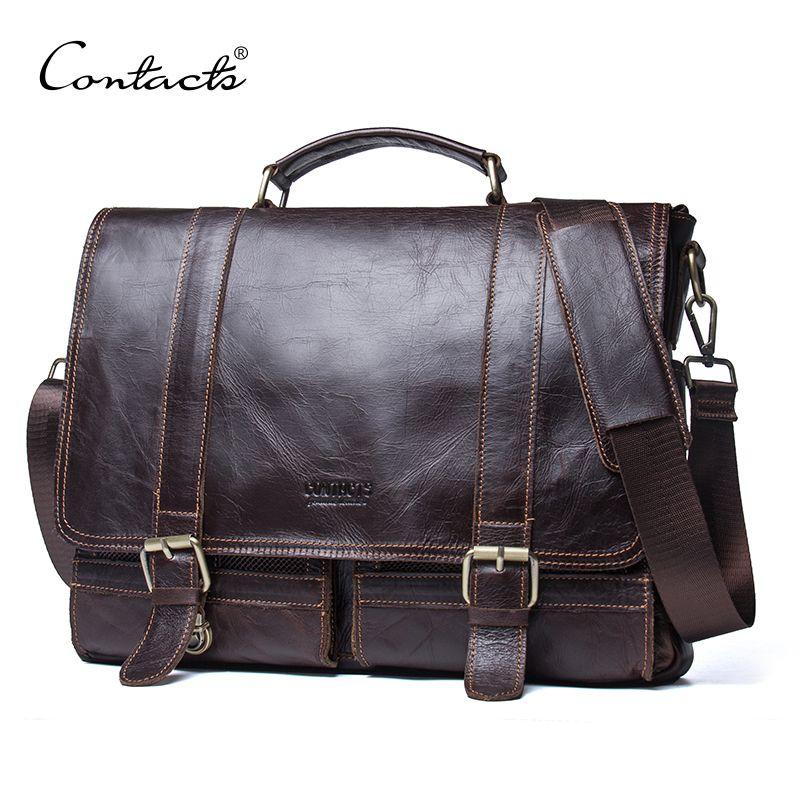 CONTACT'S men's briefcase genuine leather business handbag <font><b>laptop</b></font> casual large shoulder bag vintage messenger bags luxury bolsas