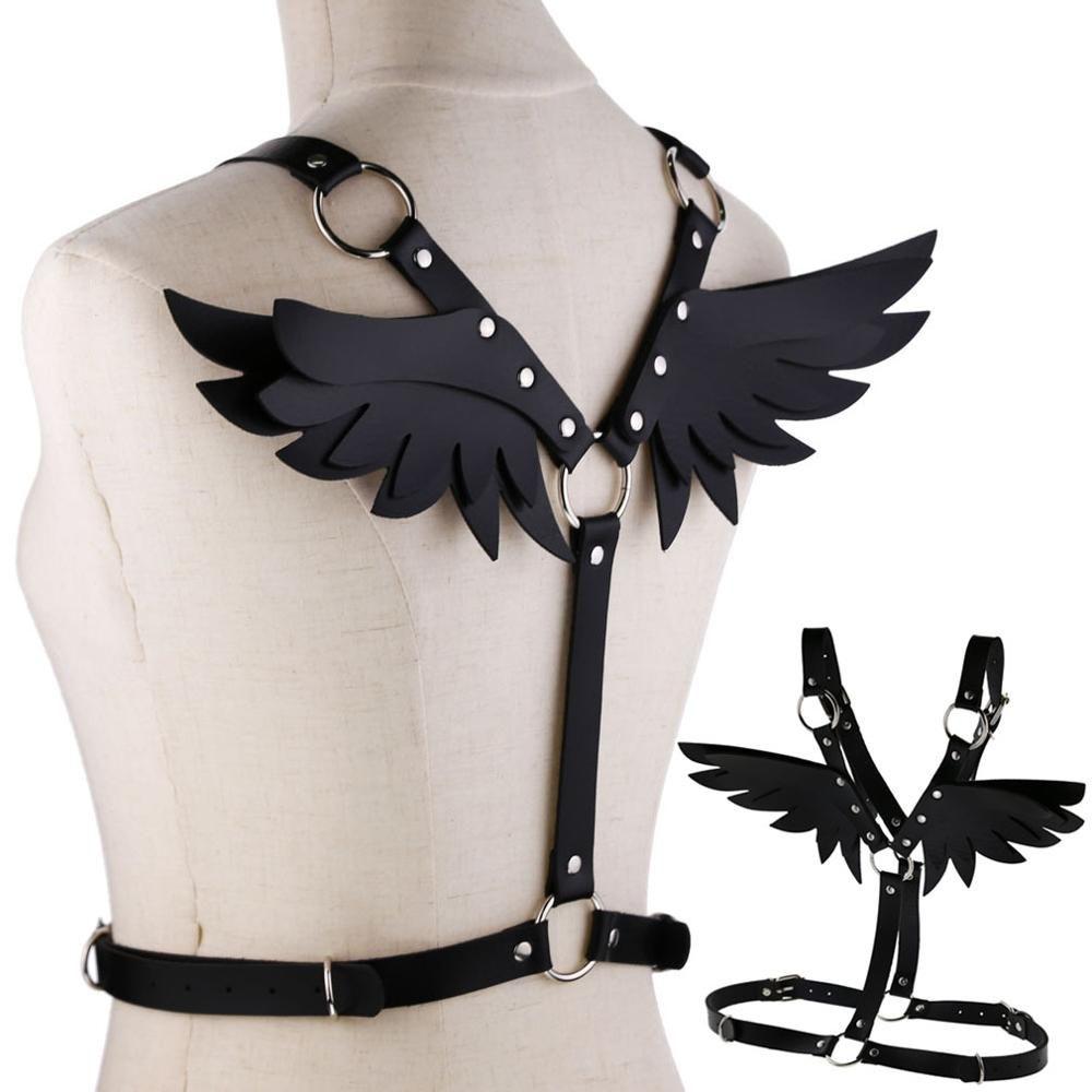 Ailes cuir harnais Goth Punk corps chaîne femmes sangle été festival filles lingerie cage harnais rave bébé bijoux