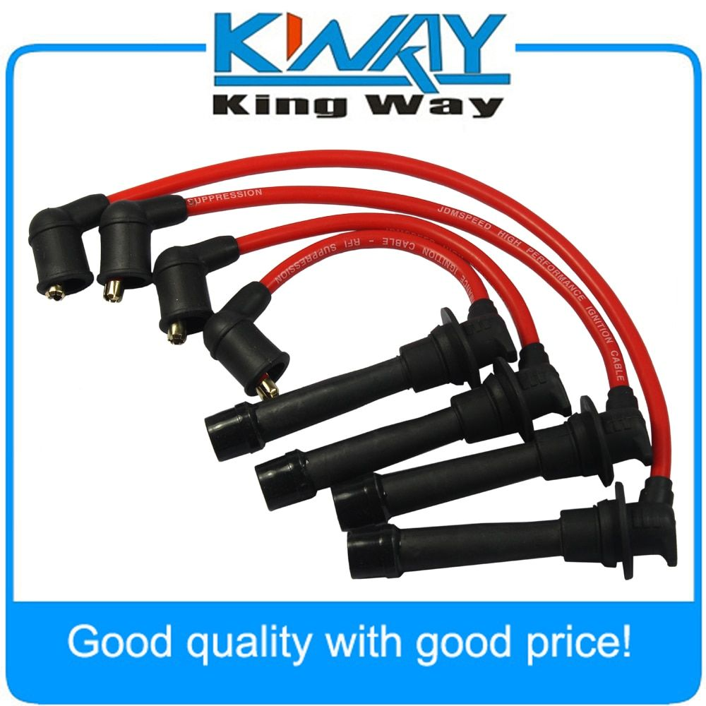 Set of 4 PCS Red Ignition Spark Plug Wires Set Fits for Mazda Miata MX-5 1.6L 1.8L 1990-2000