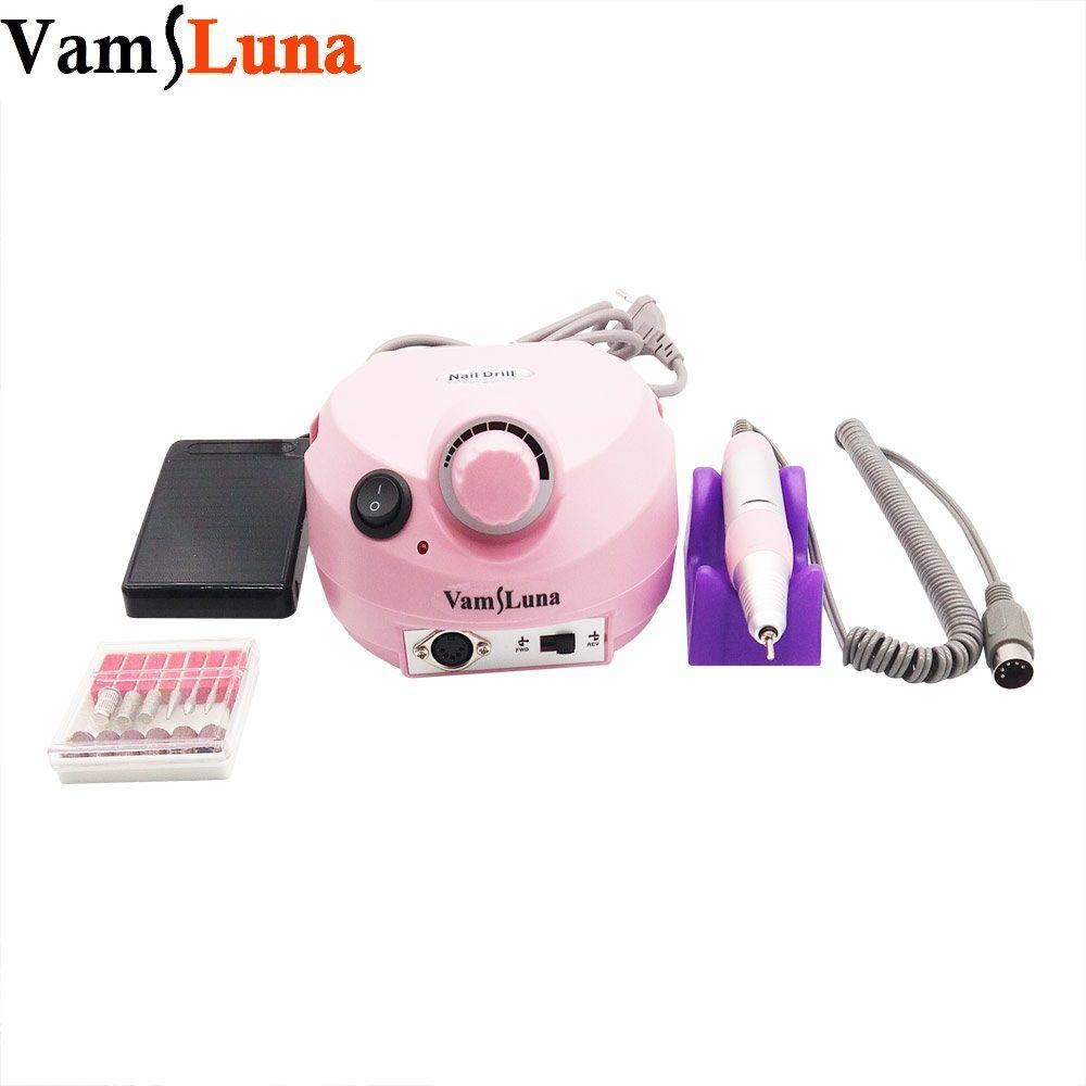 15 Watt Elektrisches nagelbohrgerät & nagel maniküre maschine mit 6 bohrer bits & fußpedal für nagellack Werkzeuge für Nagel Gel