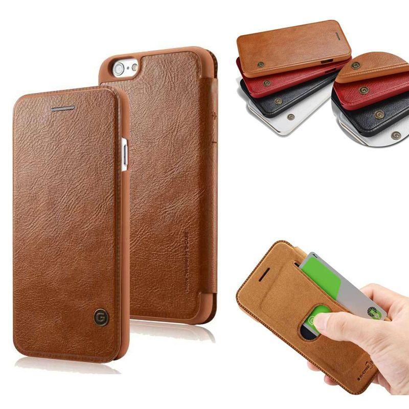 5GCASE Ultra Mince Entreprise Livre Flip Étui En Cuir pour iPhone 5 5S se 6 6 s 7 8 Plus X mince Couverture Rigide Coque Capinha