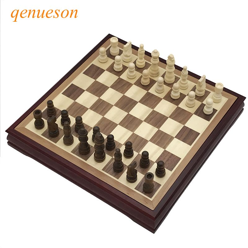 Hot Top Quality Wood Chess Game Set Solid Chessboard 28*28cm International Chess Classic Coffee Table Wooden Board Game qenueson