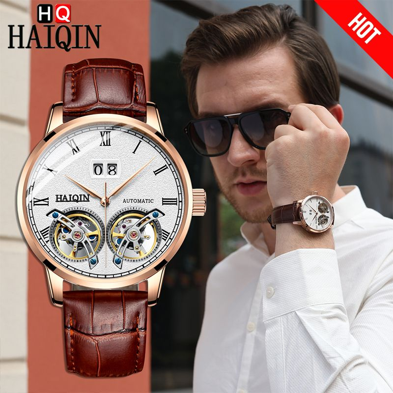 HAIQIN Top Marke luxus Männer Uhr Mechanische 50 m Wasserdicht Business Watch Matt Tourbillon Männlichen Armbanduhr Relogio Masculino