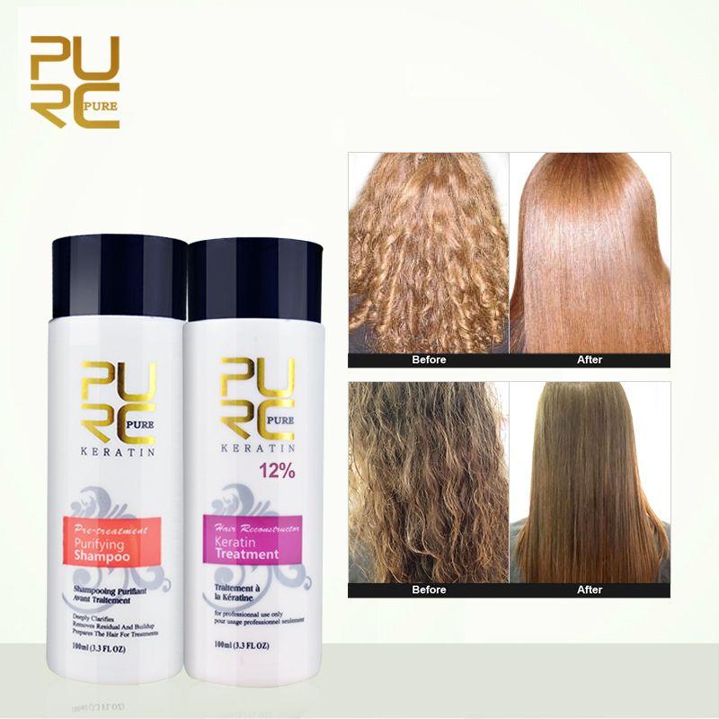 PURC 12% formol kératine traitement des cheveux et purifiant shampooing produits de soins capillaires ensemble 2018 kératine brésilienne livraison gratuite