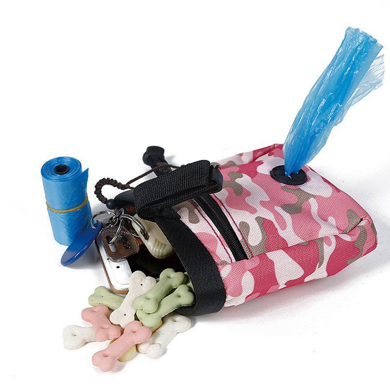 Зеленый/розовый собака щенок мешок прогулки Еда лечения снэк-мешок ловкость приманки обучение карманы талии хранения Держите Еда контейне...