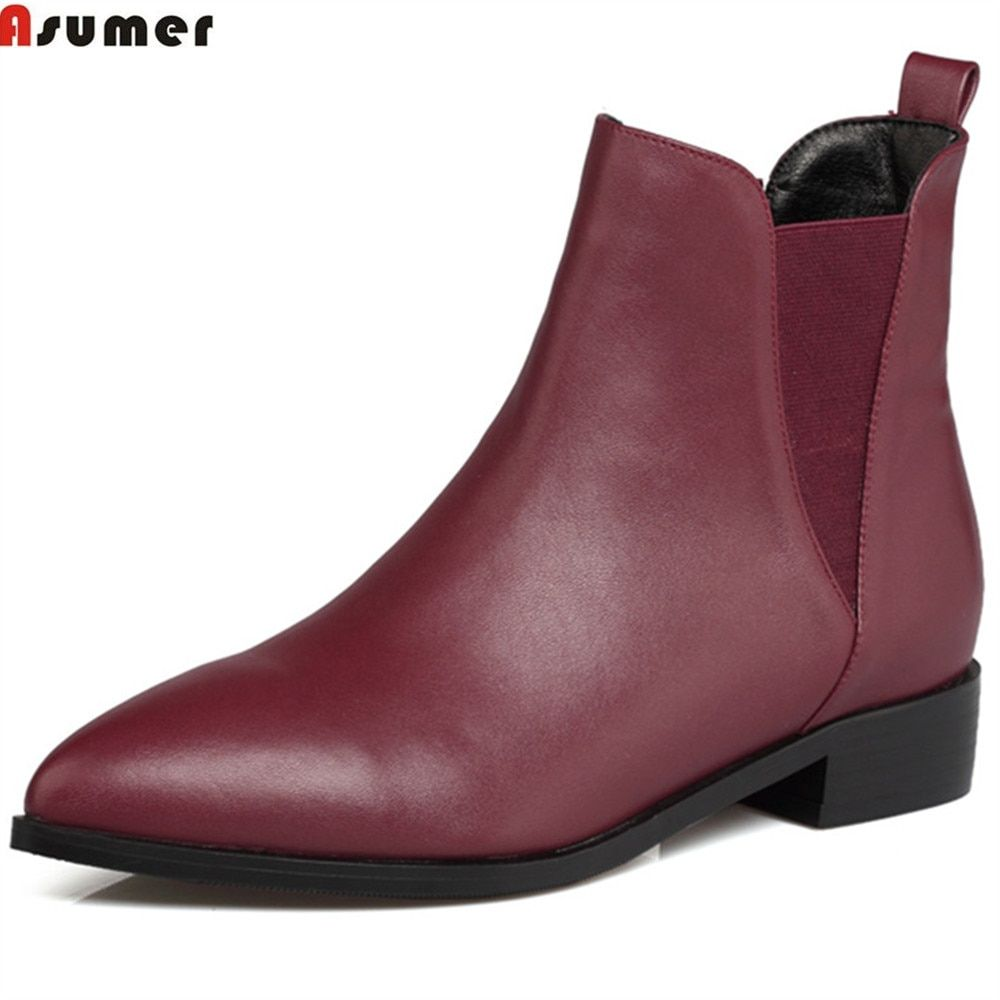 Asumer wine red black fashion women boots pointed toe square heel genuine leather boots low heel cow leather ankle boots