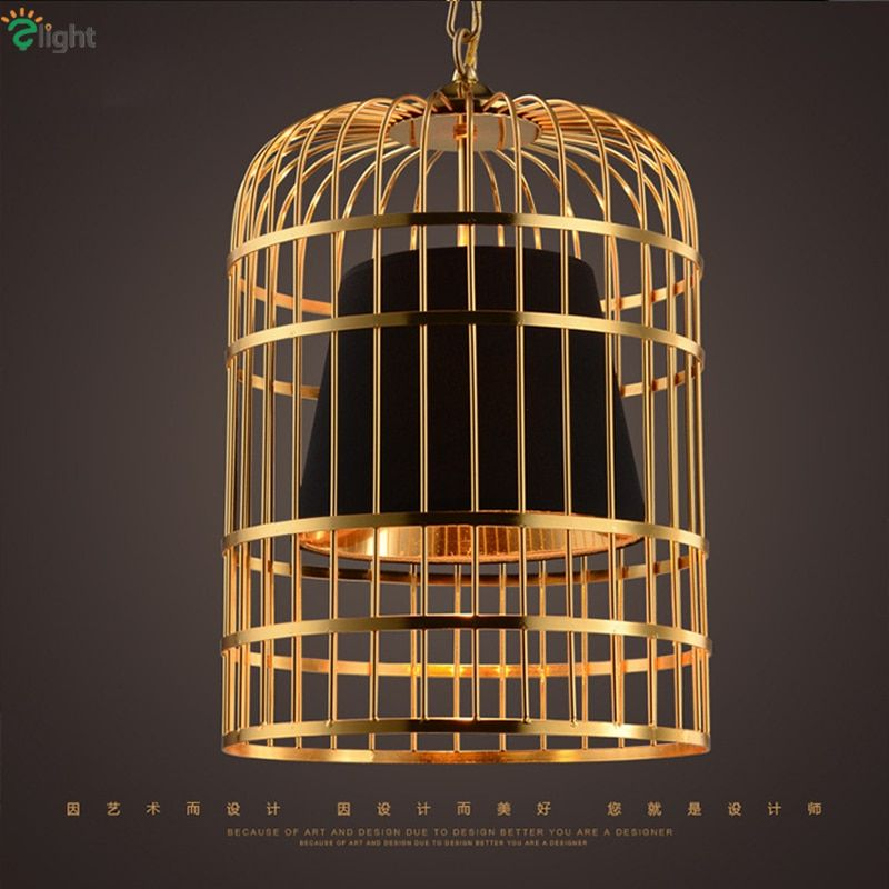 Modern Led Plate Gold Chrome Birdcage Led Pendant Light Bar Restaurant PVC Shades E27 Deco Vintage Chain Hanging Lamp