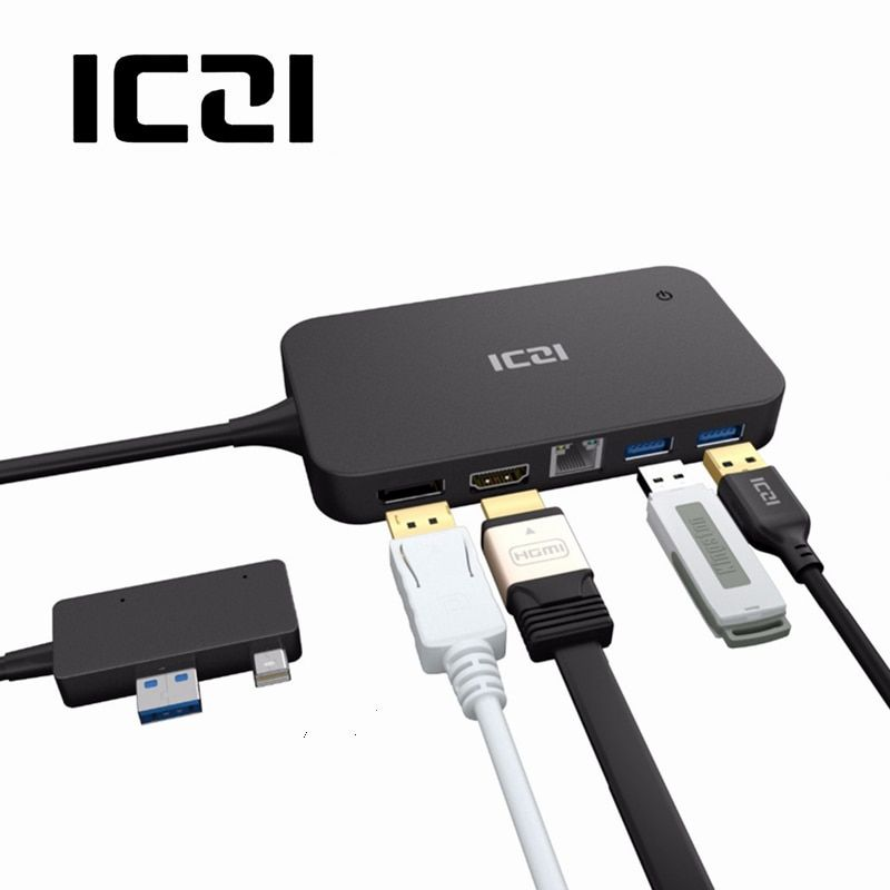 ICZI Surface Dock Hub with HDMI DP Ethernet & USB 2.0 3.0 Ports Docking Station for Microsoft Surface 3 & Pro 4 (NOT Pro 3)