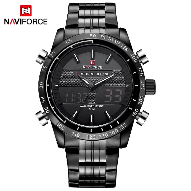 NAVIFORCE Men Watches Full Steel Men's Quartz Hour Clock Analog LED Digital Watch Sports Military Wrist Watch Relogio Masculino