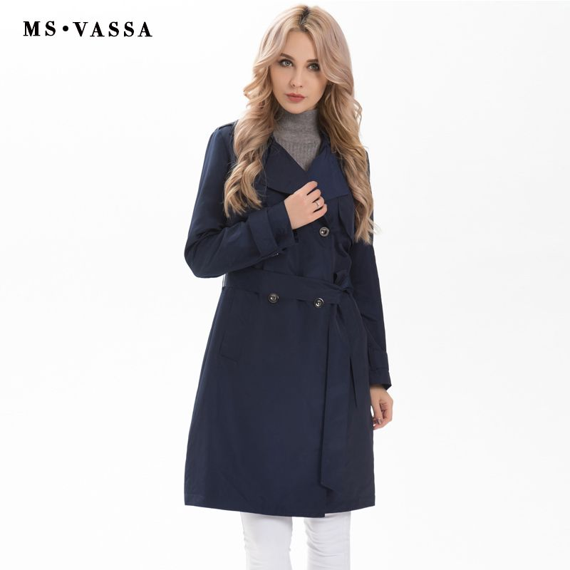 MS VASSA Women Trench 2017 New Autumn Spring Ladies coats plus size 4XL 6XL turn-down collar double breasted button closure
