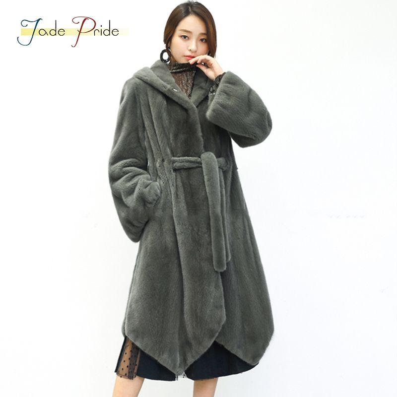 jade pride 2018 New Belt Hooded Full Pelt Velvet Mink Fur Coat Slim Long Women Mink Fur Coat Lantern Sleeve Hooded Mink Coats
